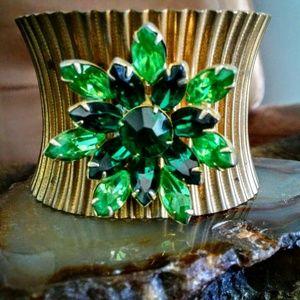 Shabby Chic UpCycled Vintage Jeweled Cuff Bracelet